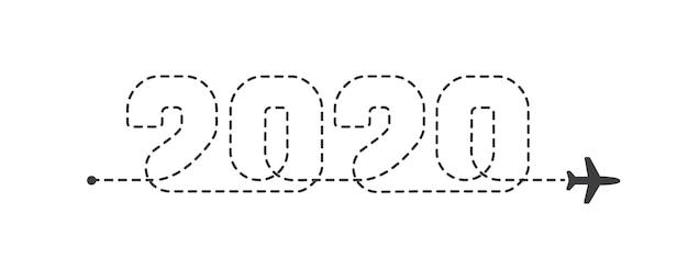 Itinéraire en pointillé de l'avion 2020. lignes de trace d'avion. chemin de suivi des aéronefs