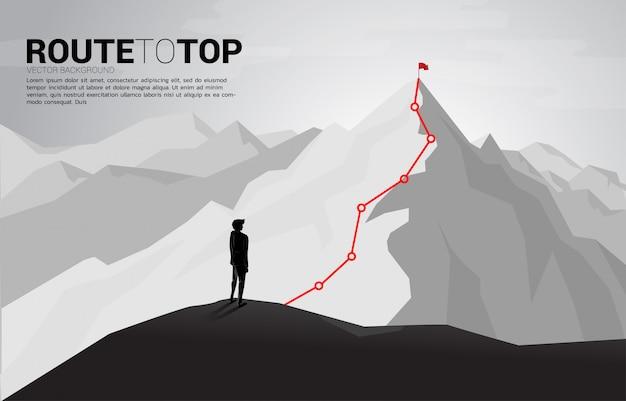 Itinéraire vers le sommet de la montagne: concept d'objectif, mission, vision, cheminement de carrière, concept de vecteur polygon dot connect style de ligne