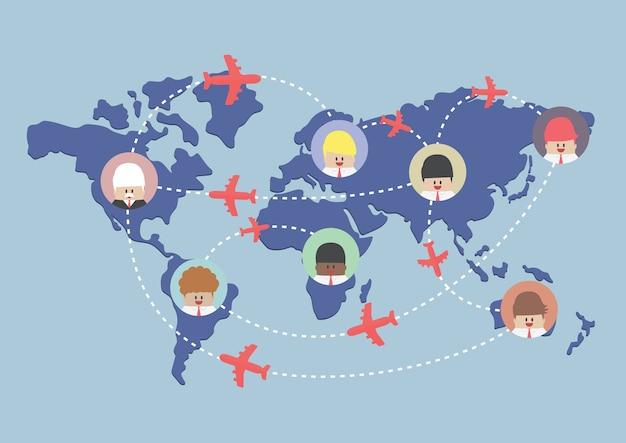 Itinéraires d'homme d'affaires et avion sur la carte du monde