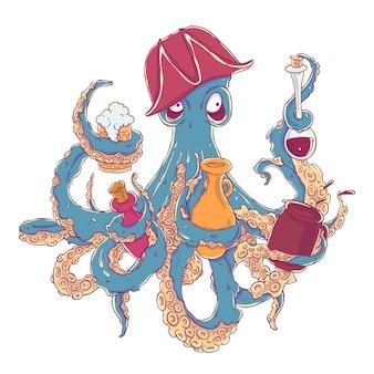 Ivre poulpe-pirate avec une boisson dans les tentacules. drunkard dans un chapeau armé de travers.