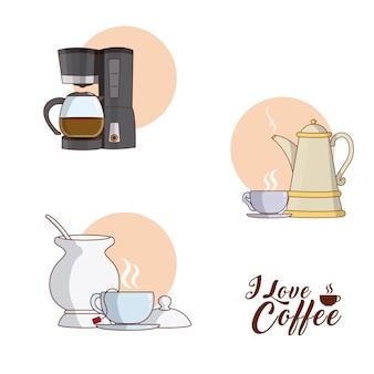 J'adore La Conception Graphique De Café Collection Vector Illustration Vecteur Premium