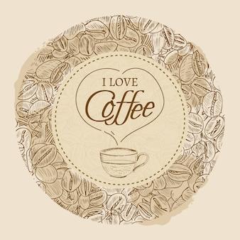J'adore les croquis vintage de café vecteur modèle dessinés à la main