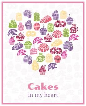 J'adore les gâteaux. signe en forme de coeur de cuisson. gâteau alimentaire, affiche sucrée. illustration vectorielle