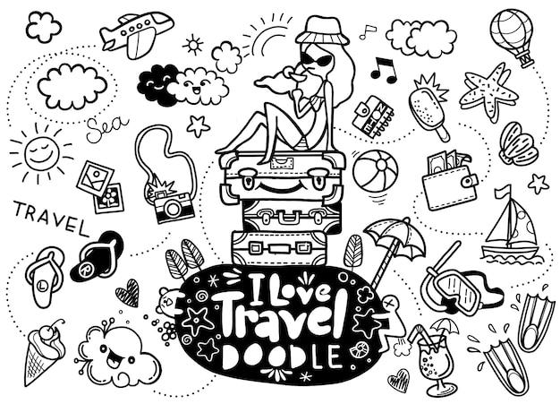 J'adore les voyages, illustration vectorielle de voyages doodles croquis icônes