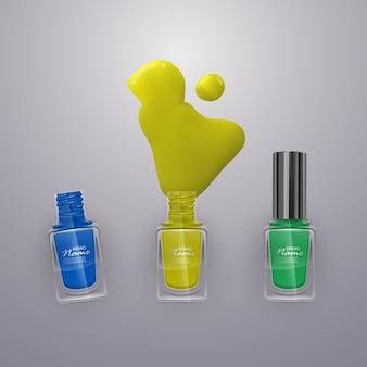 J'ai renversé des vernis à ongles. vernis à ongles de couleurs vives, illustration