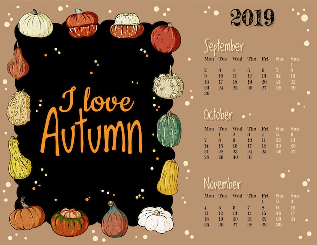 J'aime l'automne mignonne confortable hygge 2019 automne calendrier mensuel avec un décor citrouilles