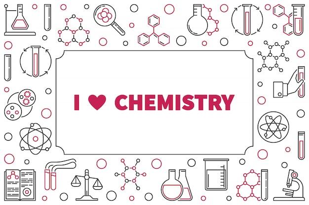 J'aime le cadre de chimie avec des icônes de contour chimique