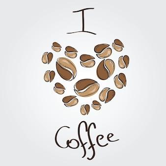 J'aime le café. coeur de grains de café - vecteur