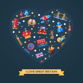 J'aime la carte coeur de la grande-bretagne avec des symboles britanniques célèbres
