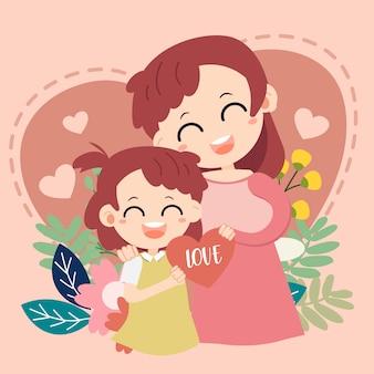J'aime la carte de maman. bonne fête des mères . mère et bébé sur le coeur
