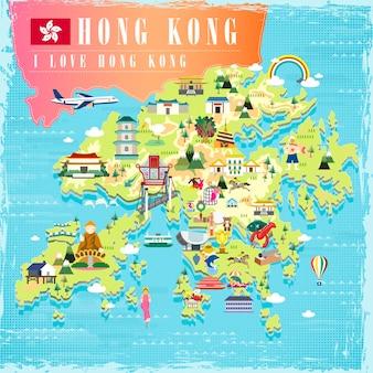 J'aime la carte de voyage concept hong kong avec des icônes d'attractions au design plat