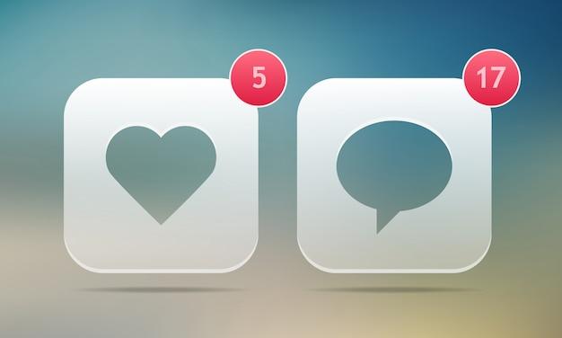 J'aime et commenter les boutons.