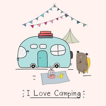 J'aime le concept de camping avec ours mignon et voiture de camping