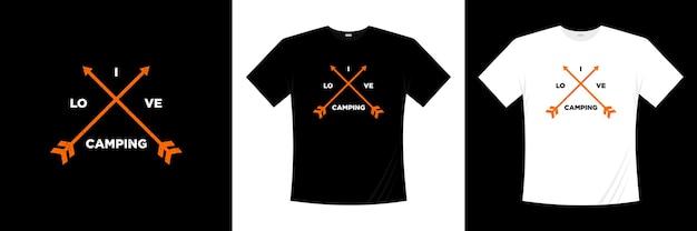 J'aime la conception de chemise de typographie de camping