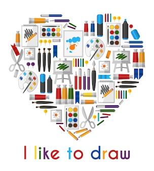 J'aime dessiner. coeur de crayons et pinceaux. crayon et outil, aime dessiner, pinceau et palette