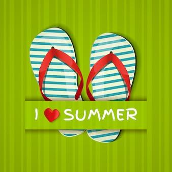 J'aime l'été. carte avec des tongs.