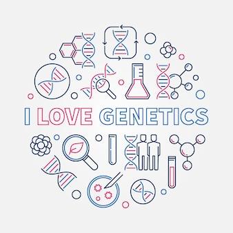 J'aime la génétique contour créatif illustration ronde