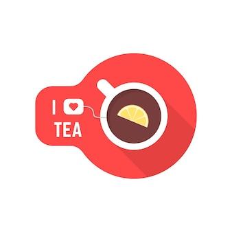 J'aime l'icône de thé avec une tasse de thé. concept de tonique, théière en céramique, réveil, détente, vacances de carte de voeux, réveil. plat, tendance, tendance, moderne, logotype, graphisme, conception, vecteur, illustration, blanc, fond