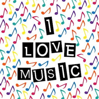 J'aime le lettrage typographique de musique sur le fond coloré de notes de musique