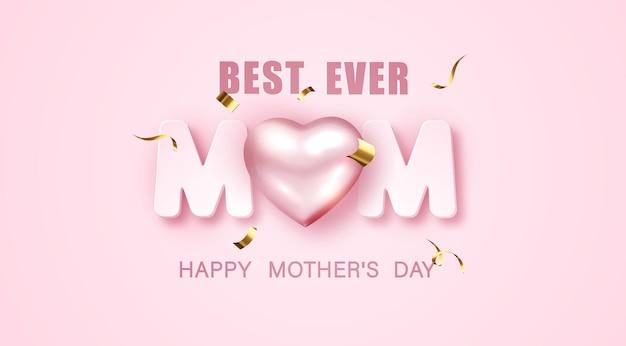 J'aime maman. carte de voeux fête des mères avec coeur métallique 3d et guirlandes sur rose