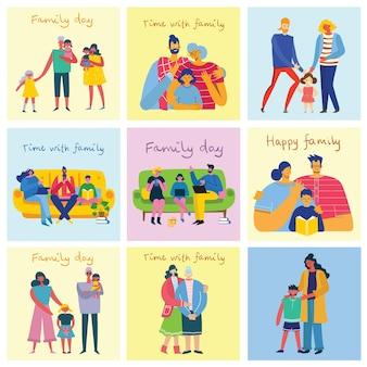 J'aime mon illustration vectorielle mignonne de famille avec la fille de père de mère