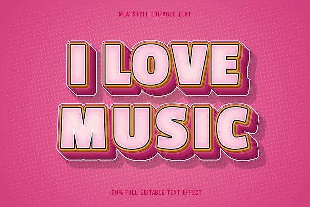 J'aime la musique effet de texte modifiable couleur rose dégradé