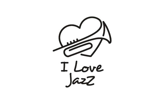 J'aime la musique jazz design logo inspiration