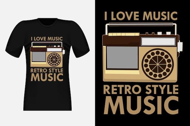 J'aime la musique style rétro silhouette de musique t-shirt design vintage