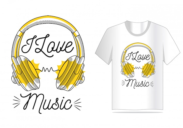 J'aime la musique vecteur pour la conception de t-shirt