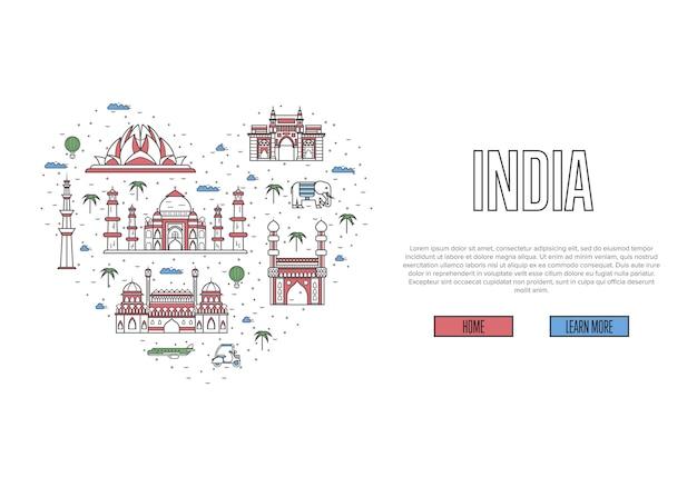 J'aime la page web de l'inde dans un style linéaire