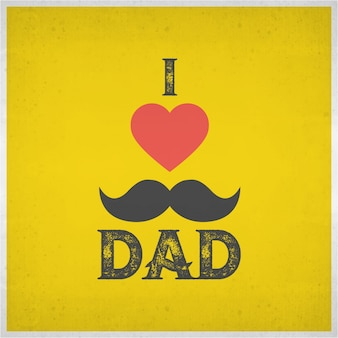J'aime le papa et la forme rouge du coeur sur le fond jaune du grunge pour les célébrations heureuses de la fête des pères afficheur ou conception de dépliant avec un texte élégant