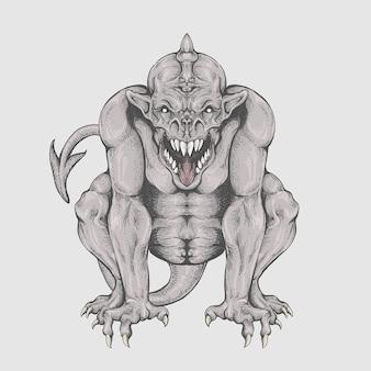 J'aime peindre des monstres. gargouille en dessin à la main