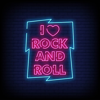 J'aime rock and roll néons style style texte vecteur