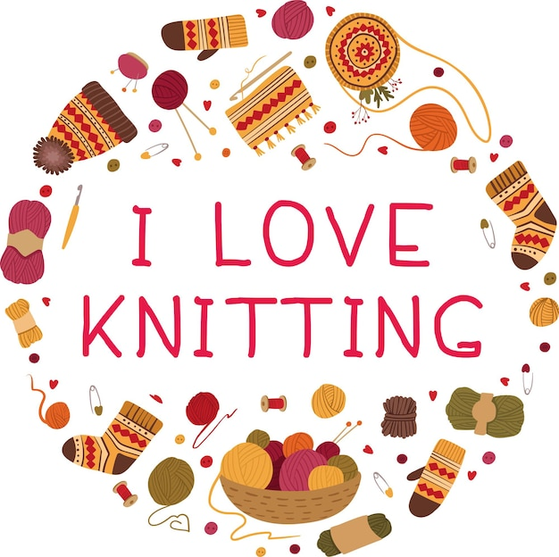 J'aime tricoter modèle de carte hiver chaud vêtements en laine faits à la main chapeaux écharpes chaussettes