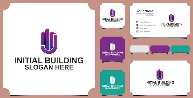 J concept de conception de logo de lettre de construction