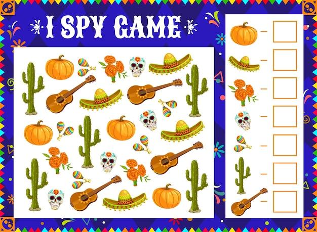 J'espionne une énigme de jeu avec des objets du jour des morts au mexique