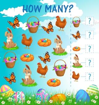 J'espionne le jeu des enfants avec la feuille de travail des personnages de pâques