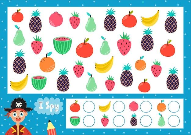 J'espionne le jeu pour les enfants trouvez et comptez les fruits recherchez le même puzzle d'oiseau pour les enfants combien y a-t-il d'éléments