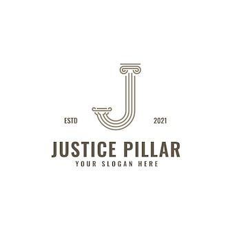 J lettre logo justice et cabinet d'avocats pilier audacieux dessin au trait professionnel