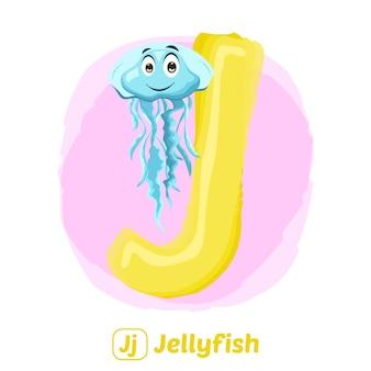 J pour les méduses. style de dessin d'illustration premium d'animal alphabet pour l'éducation