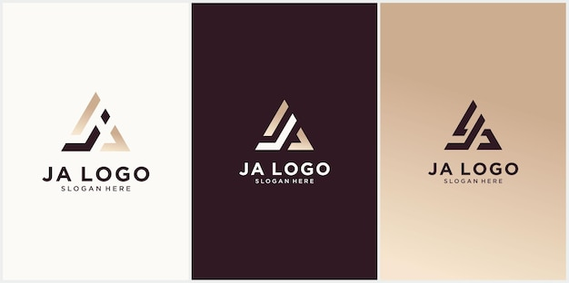 Ja logo template design ja hexagon initial monogram with gold color logo de luxe ja