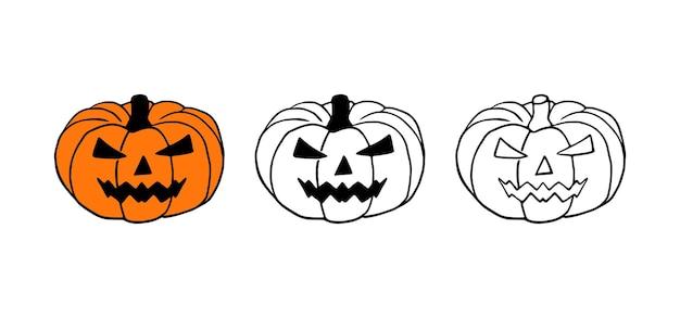 Jack-o-lantern ou halloween citrouille dessinés à la main vector set isolé sur fond blanc.