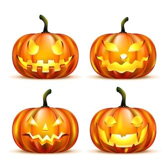 Jack o-lantern pumpkins isolés