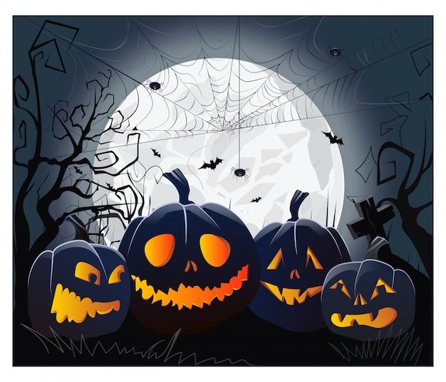 Jack o lanternes et toile d'araignée avec des araignées contre le clair de lune