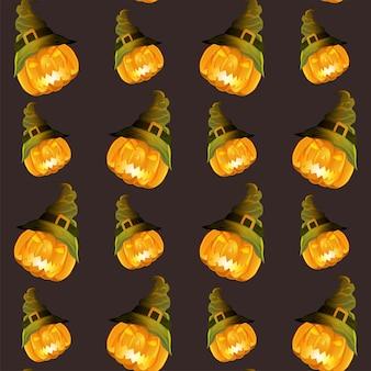 Jack-o-lanterns sans couture portant un motif de chapeau de sorcière.