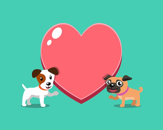 Jack russell terrier chien et carlin chien avec grand coeur