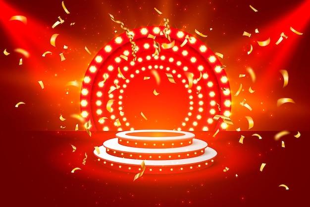 Jackpot casino podium pièces d'or bannière