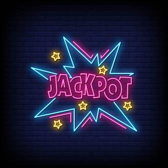 Jackpot enseignes au néon style texte