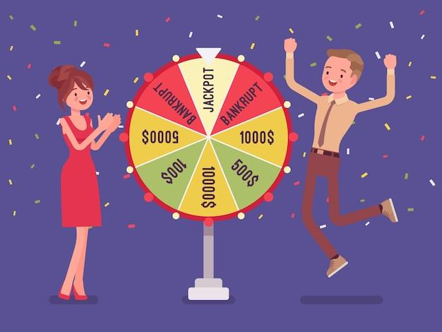 Jackpot gagnant, homme heureux réussi dans le jeu télévisé