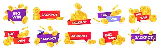 Jackpot et grandes étiquettes de gain.